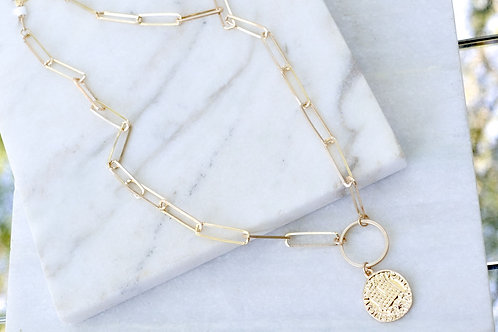 Gold Chain Necklace with Coin
