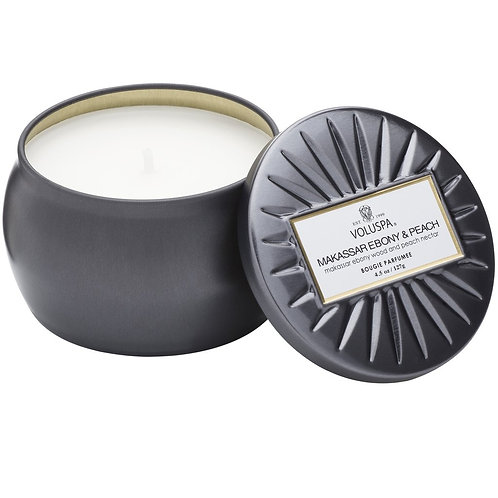 Voluspa Candle - Makassar Ebony & Peach Mini Tin Candle