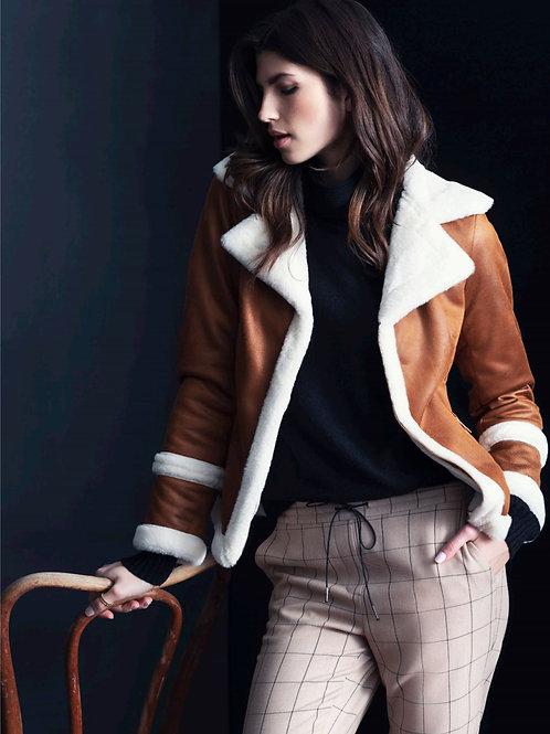 Renuar Brown Jacket w/ Faux Fur Trim