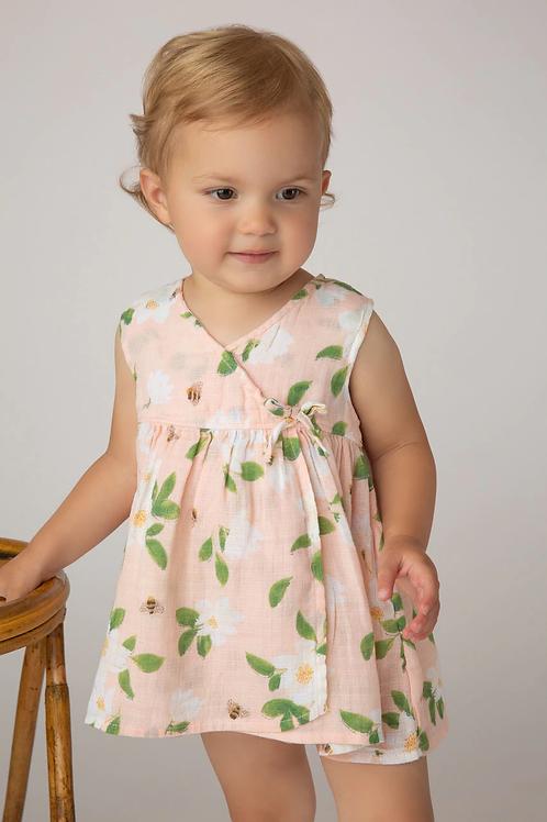 Angel Dear - Kimono Dress and Diaper Cover in Magnolias