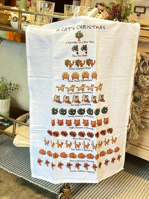 A Cat's Christmas Tea Towel