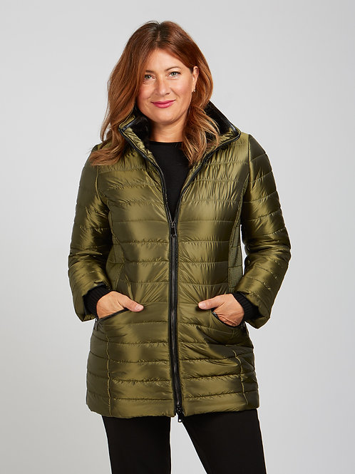 Renuar Long Puffer Jacket in Chive