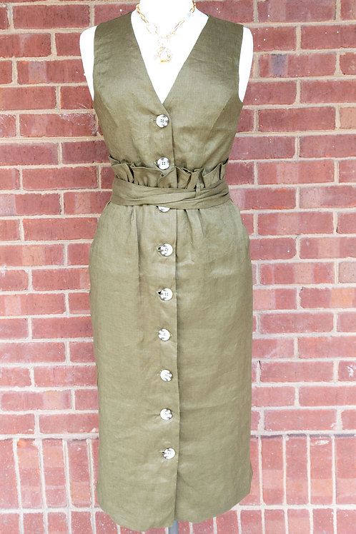 Forest Lily Olive Dress