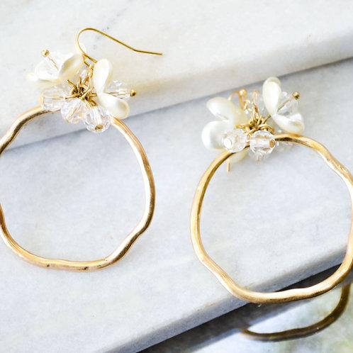 Pearl Flower Hoops