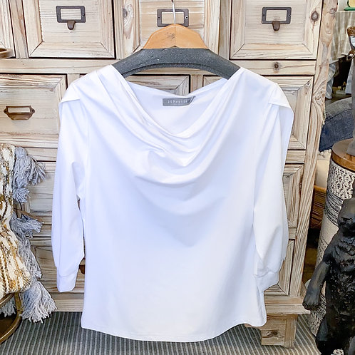 209 West - White Long Sleeve Cowl Neck