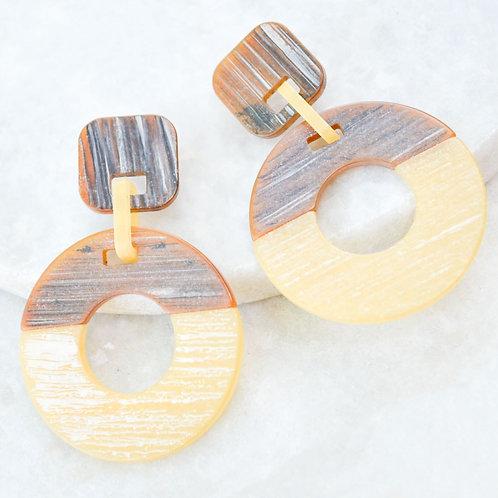 Earth Tone Acrylic Earring -Tan & Brown