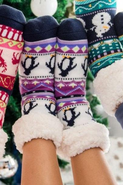 Classic Slipper Socks | Lilac Penguin