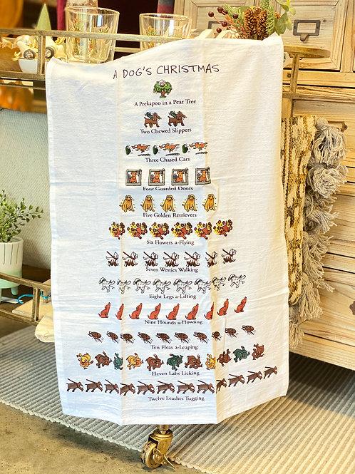 A Dog's Christmas Tea Towel