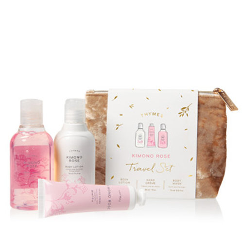 Thymes Kimono Rose Travel Set with Beauty Bag
