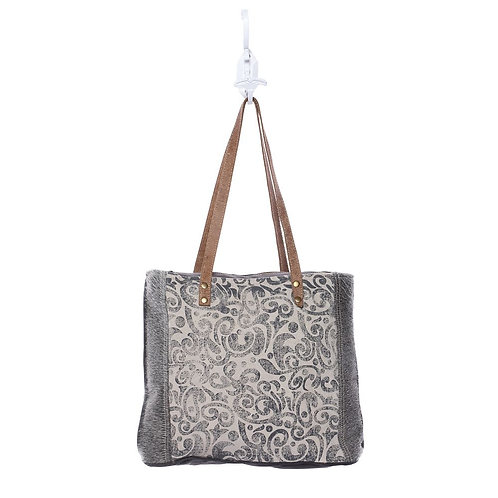 Myra Bag - Leaf Print Canvas Tote Bag
