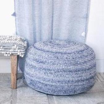 Indigo Hand Crochet Pouf