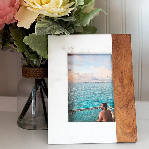 Wood + White Marble Picture Frame - 4x6