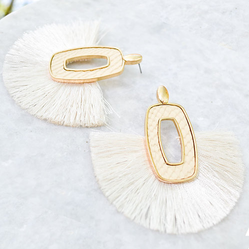 Rectangle Drop Down Earrings with Fringe
