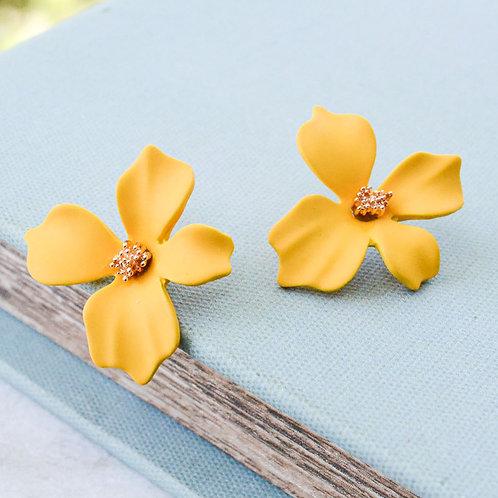 Yellow Small Flower Studs