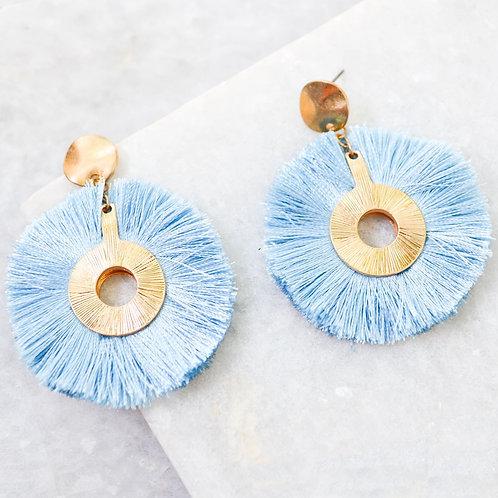 Light Blue Circle Fringe Earrings