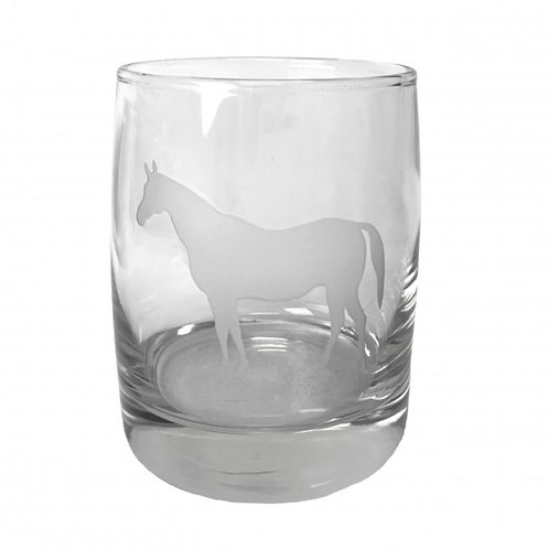 Etched Horse Rock Glass