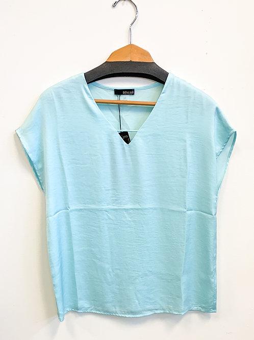 Renuar - Silky V-Neck Blouse in Blue