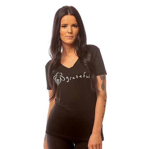 Bee Attitudes - Bee Grateful Fitted V-Neck Black