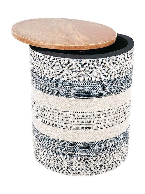 Handwoven Indigo Striped Storage Side Table