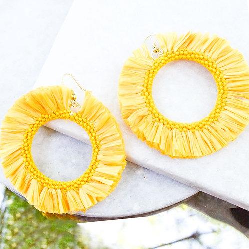 Yellow Straw Circle Earrings