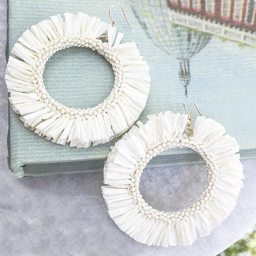Cream Straw Circle Earring