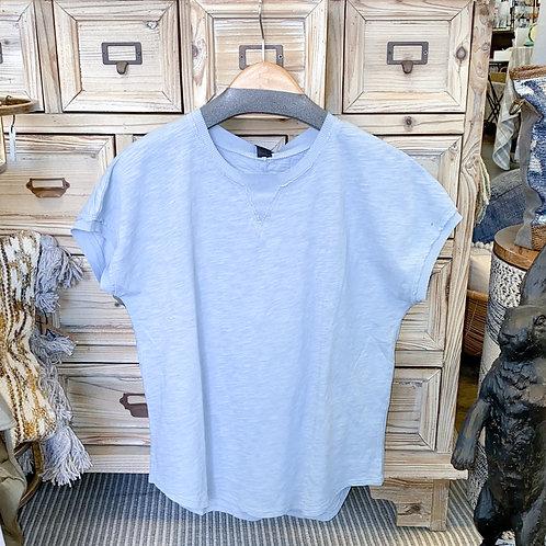 Bobi - Ribbed Trim Short Sleeve Top