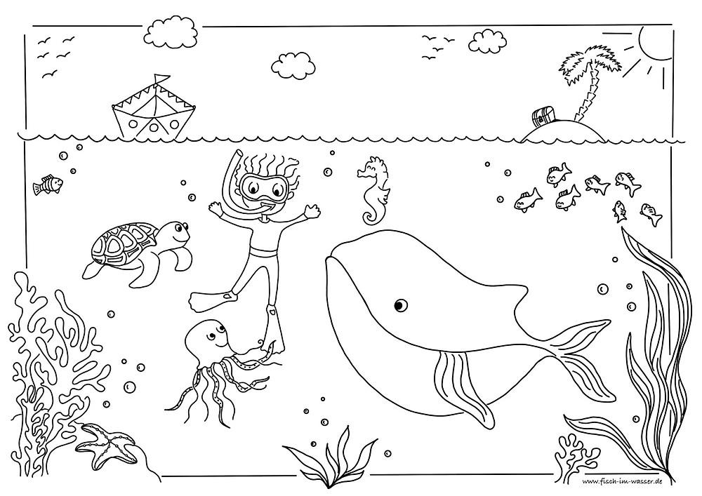 Unterwasserwelt zum Ausmalen mit Walfisch, Taucher, Schildkröte und anderen Tieren
