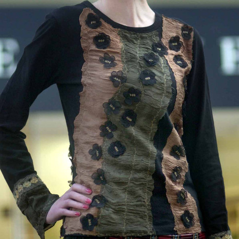 Appliqued with Silk by Hand