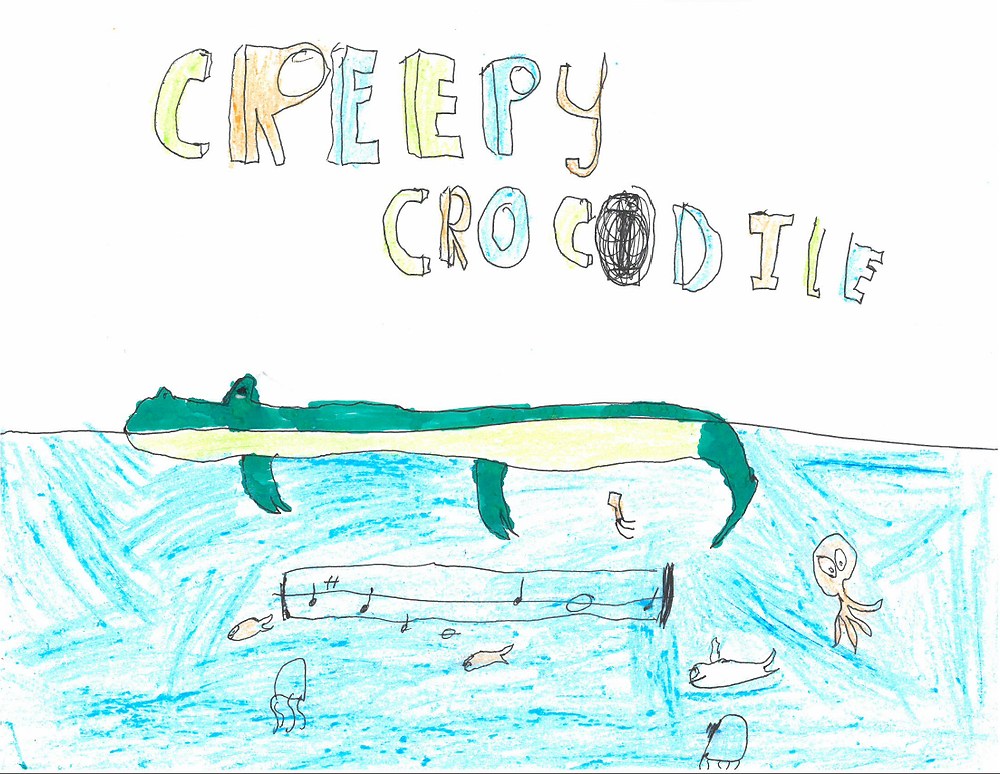 Student artwork, crocodile swimming with sea life