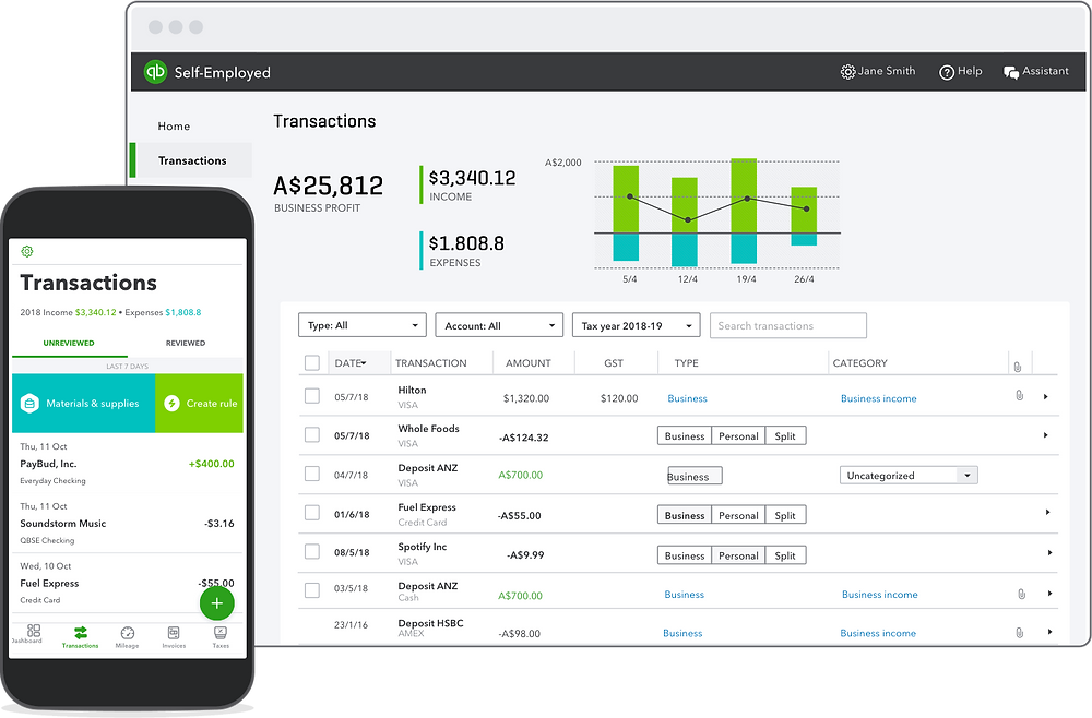 Screenshot of Quickbooks Self-Employed Transactions