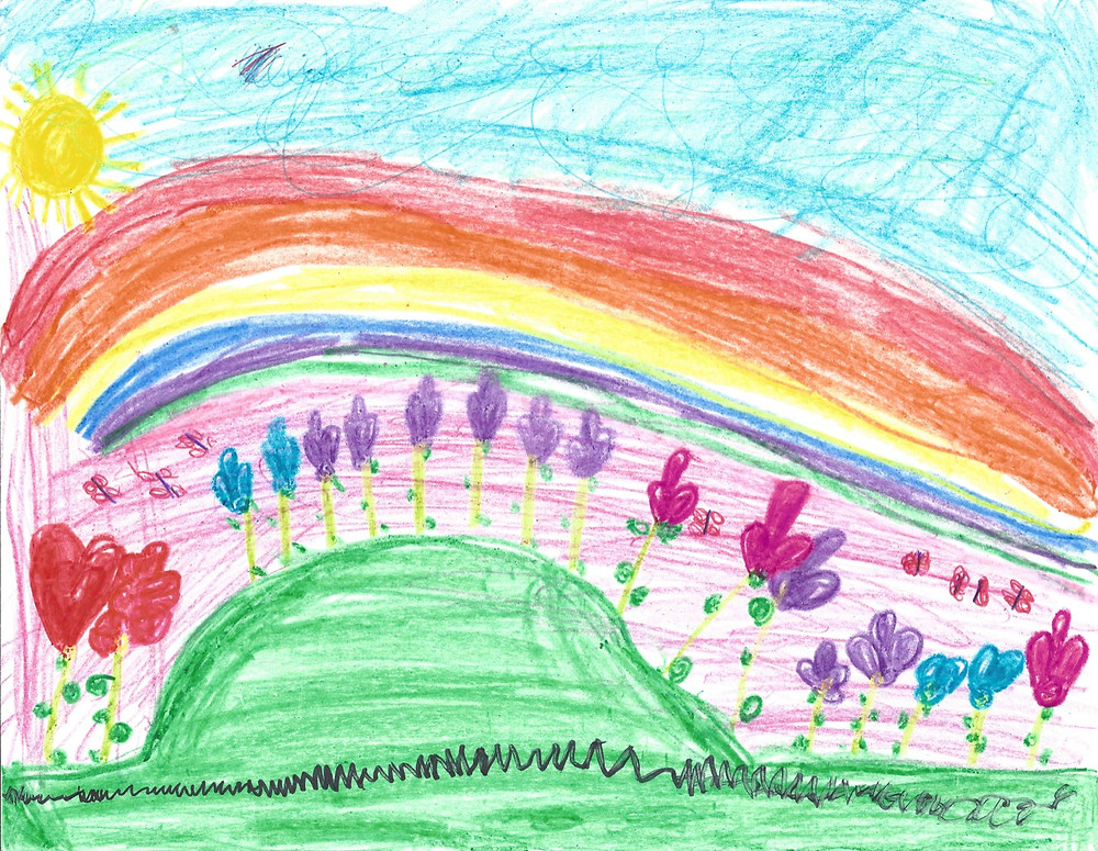 Student artwork, rainbow with flowers, sun, and green grass