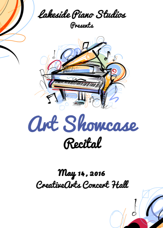 Art showcase lakeside piano studios colorful recital poster