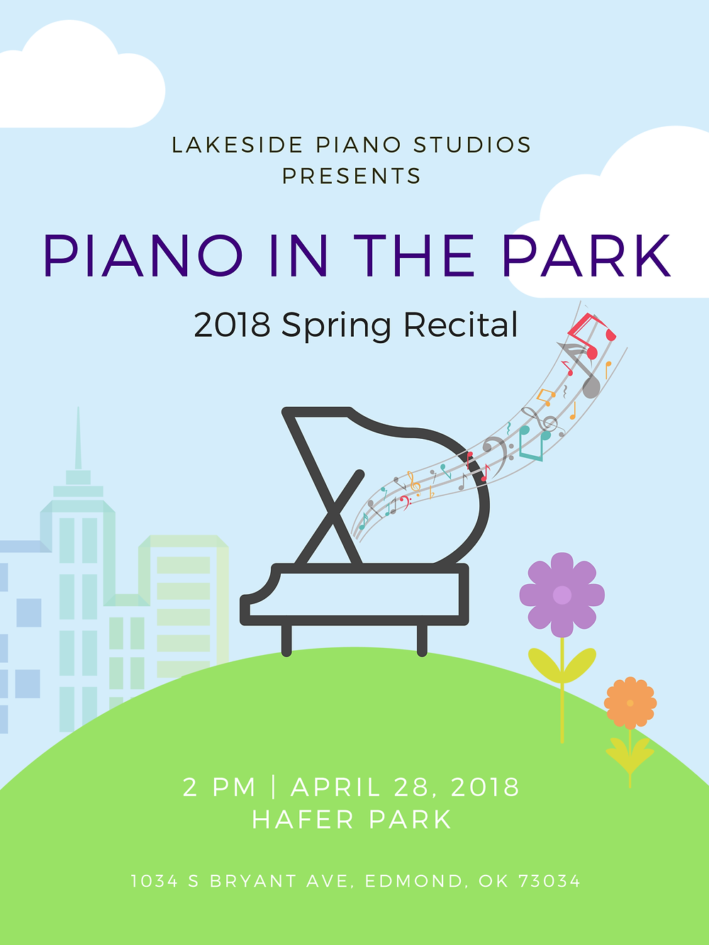 Piano in the Park Recital Poster
