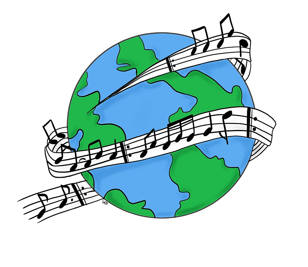 Earth wrapped by a music staff with music notes