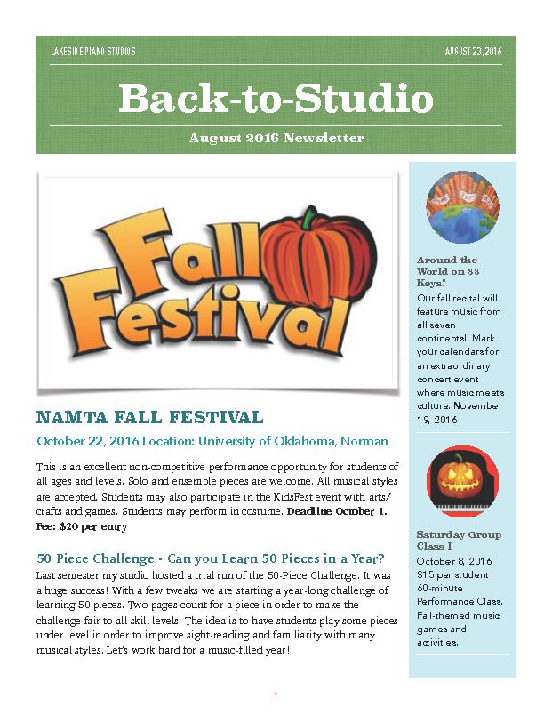 Lakeside Piano Studios Newsletter