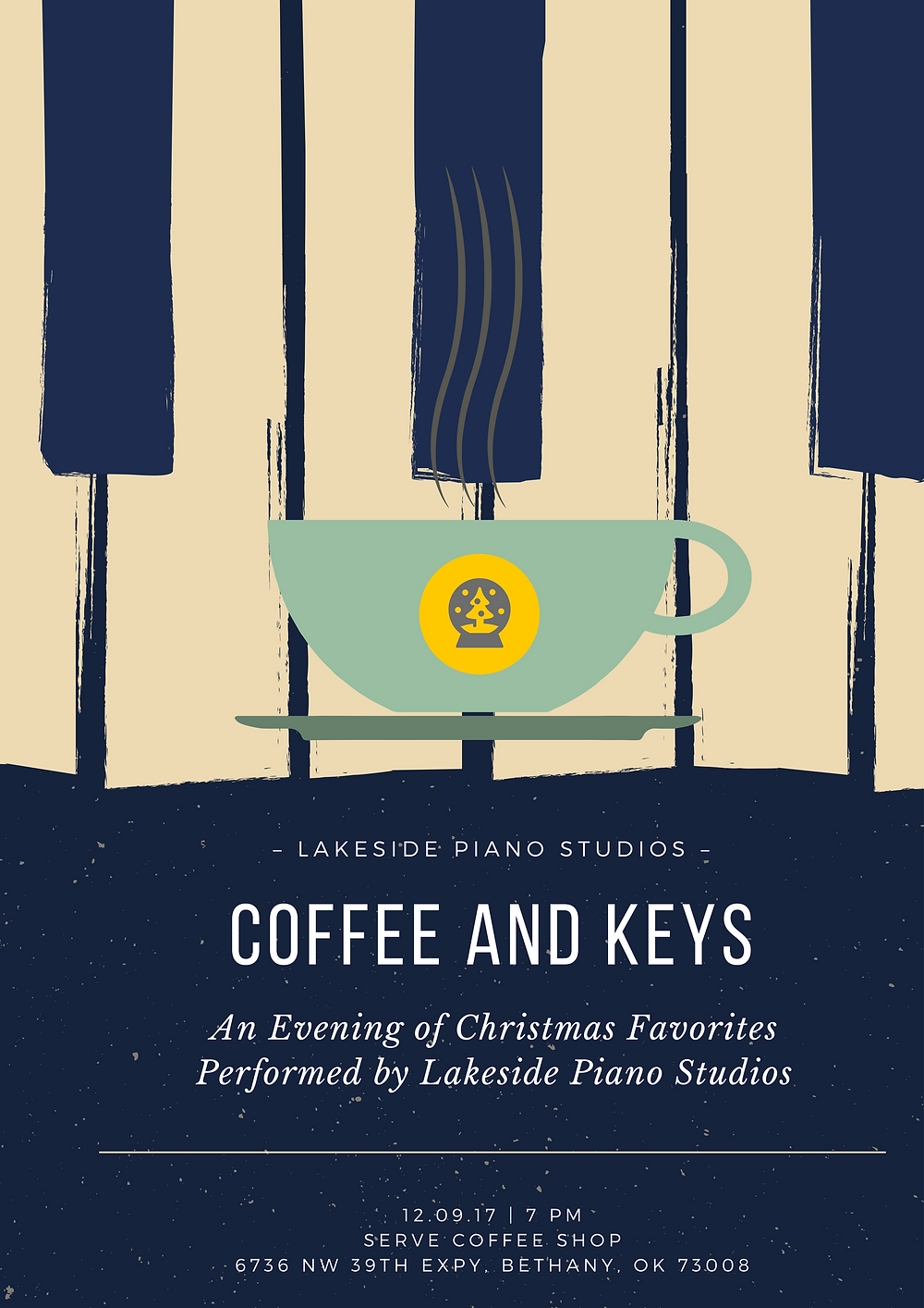 Coffee Shop Piano Recital Poster with holiday theme