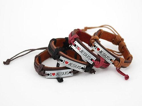 I Love Jesus Leather Bracelet