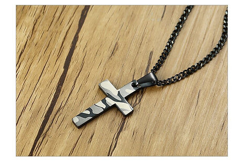 Camouflage Print Cross Pendant Necklace