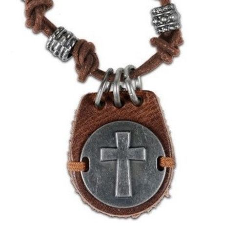 Cross Disk Christian Leather Necklace