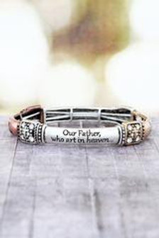 Tri-Tone The Lord's Prayer Stretch Bracelet
