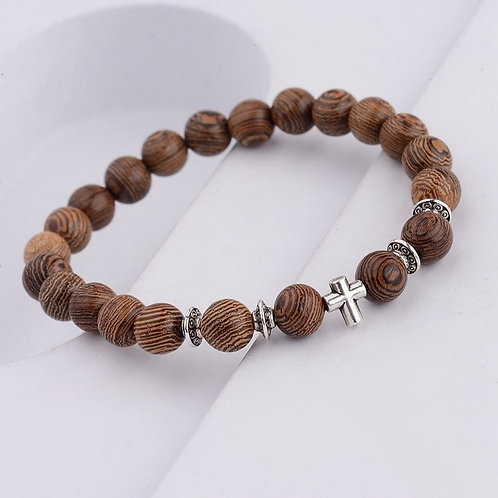 Natural Wood Beads Cross Bracelets