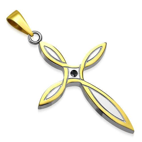 Stainless Steel 2-Tone Flower Cross Charm Pendant W/ Jet Black CZ - AVP347