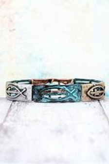 Burnished Tri-Tone and Patina Christian Fish with Cross Stretch Bracelet