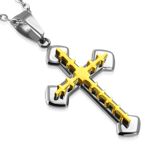 Stainless Steel 2-Tone Geometric & Arrow Double Cross Pendant - PCR659