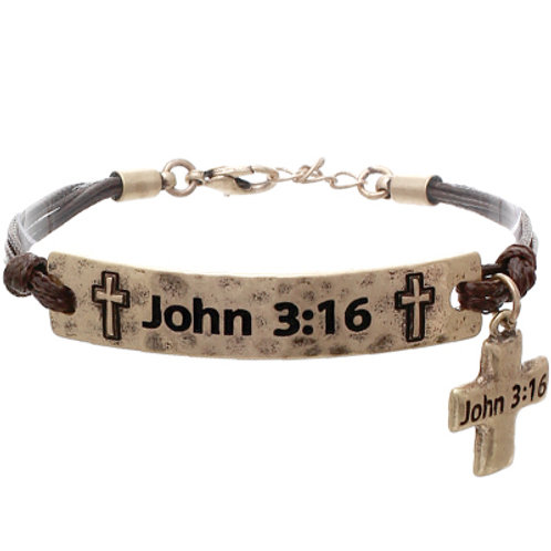 Waxed Cord With Metal John 3:16 Cross Bracelet