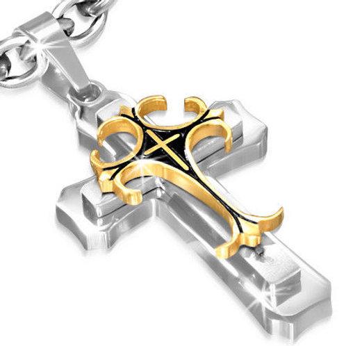 Stainless Steel 3-Tone Latin Fleur De Lis & Pattee Triple Cross Pendant - PLY105