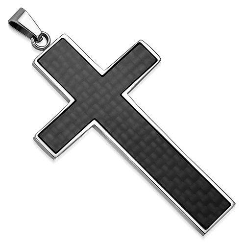 Stainless Steel 2-Tone Latin Cross Charm Pendant W/ Black Carbon Fiber - AVP119