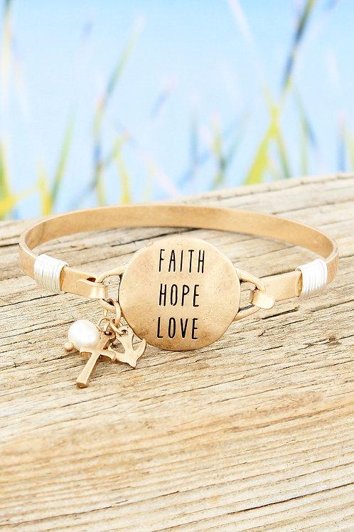 WORN GOLDTONE 'FAITH HOPE LOVE' BRACELET
