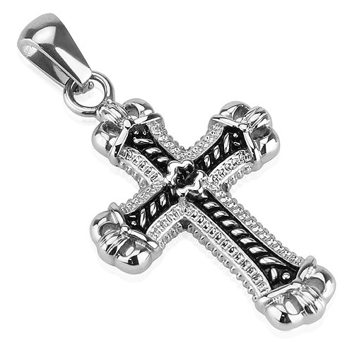 Casted Cross Stainless Steel Pendant With Steel Ball Chain