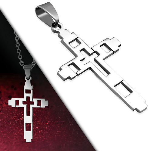 Stainless Steel Cut-Out Geometric Cross Pendant - PAC251